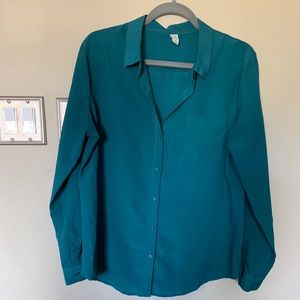 Teal chiffon button down blouse
